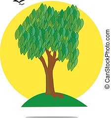 Illustration of a green tree with yellow sun