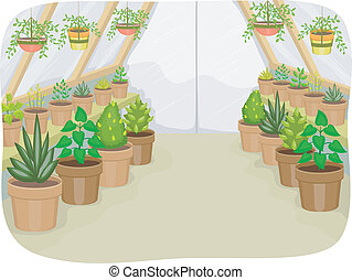 Illustration of a Greenhouse Housing Different Types of Plants