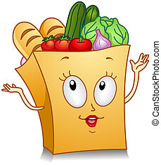 Illustration of a Grocery Bag Character Gesturing Something With its Hands