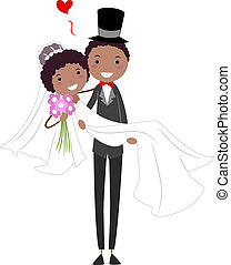 Groom Carrying His Bride - Illustration of a Groom Carrying...