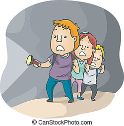 Test of Courage - Illustration of a Group Going Through a ...