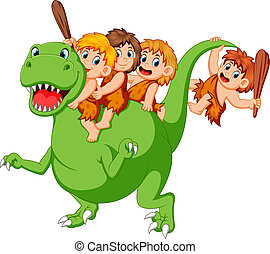 a group of ancient children playing with the Tyrannosaurus Rex's body and sitting on it