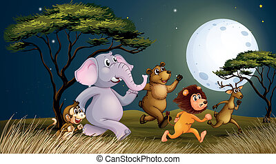 Illustration of a group of animals at the farm walking in the middle of the night