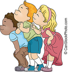 Illustration of a Group of Kids Smelling Something