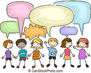 Kids Talking - Illustration of a Group of Kids Talking