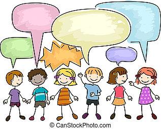 Kids Talking - Illustration of a Group of Kids Talking