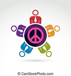 Illustration of a group of people standing around a peace sign, hippy community. Harmony and freedom conceptual icon. International conference on peace theme.
