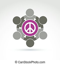 Illustration of a group of people standing around a peace sign, hippy community. Harmony and freedom conceptual icon.