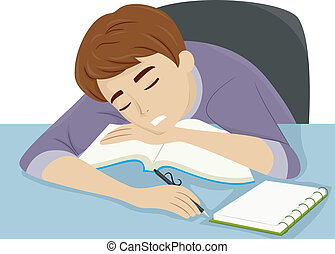 Guy Dozing Off to Sleep - Illustration of a Guy Dozing Off...