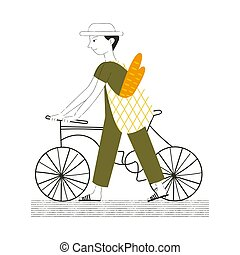 Illustration of a guy with a bike. Carries a bag with food.