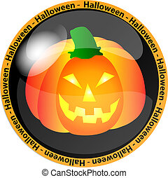 halloween button with a pumpkin - illustration of a ...