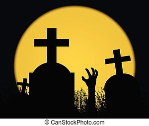 Illustration of a Halloween landscape with a zombie hand, gravestones with a cross in a cemetery and a shining yellow moon full moon in a dark blue sky
