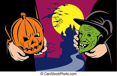 Halloween pumpkin and witch mask exchange