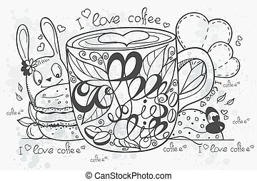 Illustration of a hand-drawn coffee doodle