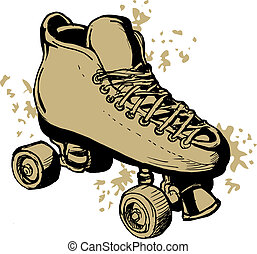 illustration of a Hand drawn Roller skates isolated on white background.