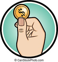 Illustration of a hand holding a coin