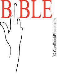 illustration of a hand in connection with the bible