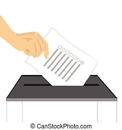illustration of a hand putting paper in ballot box