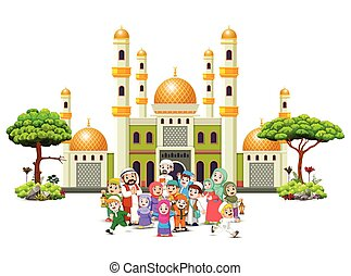 A happy big family are gathering infornt of the green mosque