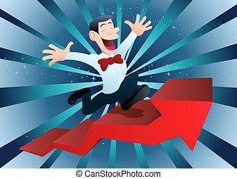 happy businessman climbing ascending arrow