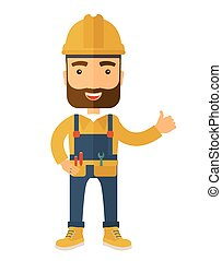 Illustration of a happy carpenter wearing hard hat and ...