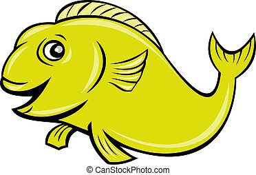 happy cartoon fish isolated on white