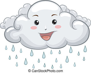 Happy Cloud Mascot with Raindrops - Illustration of a Happy...