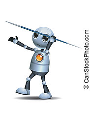 little robot hold javelin spear - illustration of a happy...