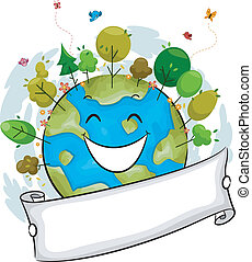 Happy Earth - Illustration of a Happy Earth Filled with...