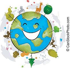 Earth Mascot - Illustration of a Happy Earth Mascot