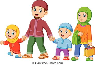 illustration of A happy family are walking together with their new clothes for celebrating ied mubarak