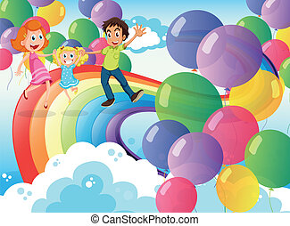 Illustration of a happy family playing with the rainbow and the floating balloons