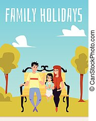 Illustration of a happy family sitting on a Park bench.