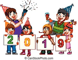 a happy family with their children is celebrating new year with the party