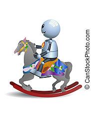 little robot riding horse toy