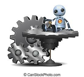 little robot sit on big gear