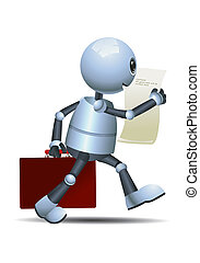 little robot walking while reading it raport