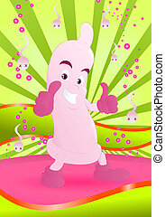 pink condom - illustration of a happy pink condom smilling...