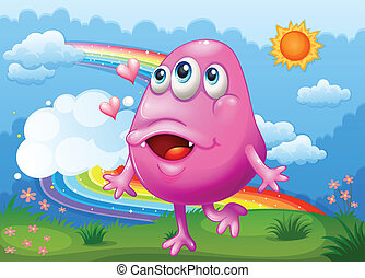 Illustration of a happy pink monster dancing at the hilltop with a rainbow in the sky