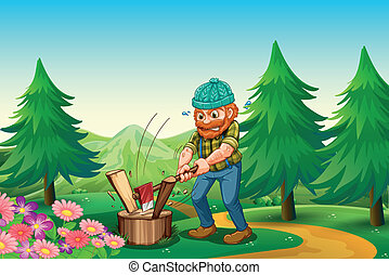 Illustration of a hardworking woodman chopping the wood near...