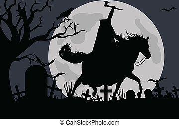 Illustration of a headless horseman with moon in background