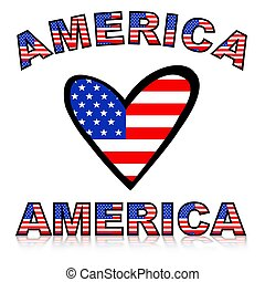 Illustration of a heart with United states of America flag texture and text