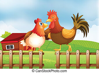 Illustration of a hen and a rooster above the fence with a wooden house at the back