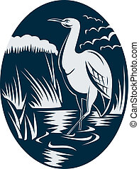 Heron wading in the marsh or swamp done in retro woodcut ...