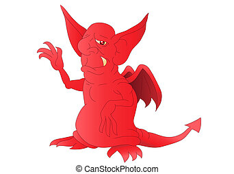 red satan - illustration of a hideous red satan smiling on...