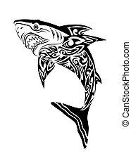hideous shark tattoo - illustration of a hideous shark...