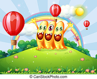 Illustration of a hilltop with three happy monsters watching the floating balloons