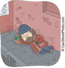 Homeless Man - Illustration of a Homeless Man Sleeping on...