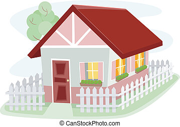 Bungalow - Illustration of a Homely Bungalow Surrounded by a...