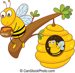 honey bee and comb - illustration of a honey bee and comb on...